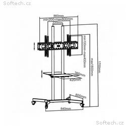 Techly oboustranný mobilní stojan pro TV LCD, LED,