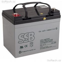 SSB olověná baterie AGM 12V, 33Ah M6, VRLA, životn