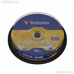 VERBATIM DVD+RW 4,7GB, 4x, 10pack, spindle