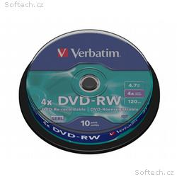 VERBATIM DVD-RW 4,7GB, 4x, 10pack, spindle
