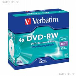 VERBATIM DVD-RW 4,7GB, 4x, DLP, Jewel, 5pack