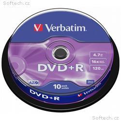 VERBATIM DVD+R 4,7GB, 16x, 10pack, spindle