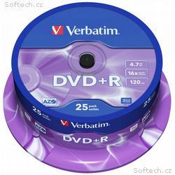 VERBATIM DVD+R 4,7GB, 16x, 25pack, spindle
