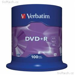 VERBATIM DVD+R 4,7GB, 16x, 100pack, spindle