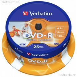 VERBATIM DVD-R 4,7GB, 16x, printable, 25pack, spin