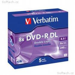 VERBATIM DVD+R(5-pack)DoubleLayer, Jewel, 8x, 8,5G