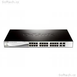 D-Link, 24 PoE 10, 100, 1000 Base-T port with 4 x